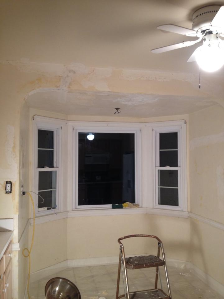 Almost there! The kitchen nook after 1-2 coats of plaster and hours of work.